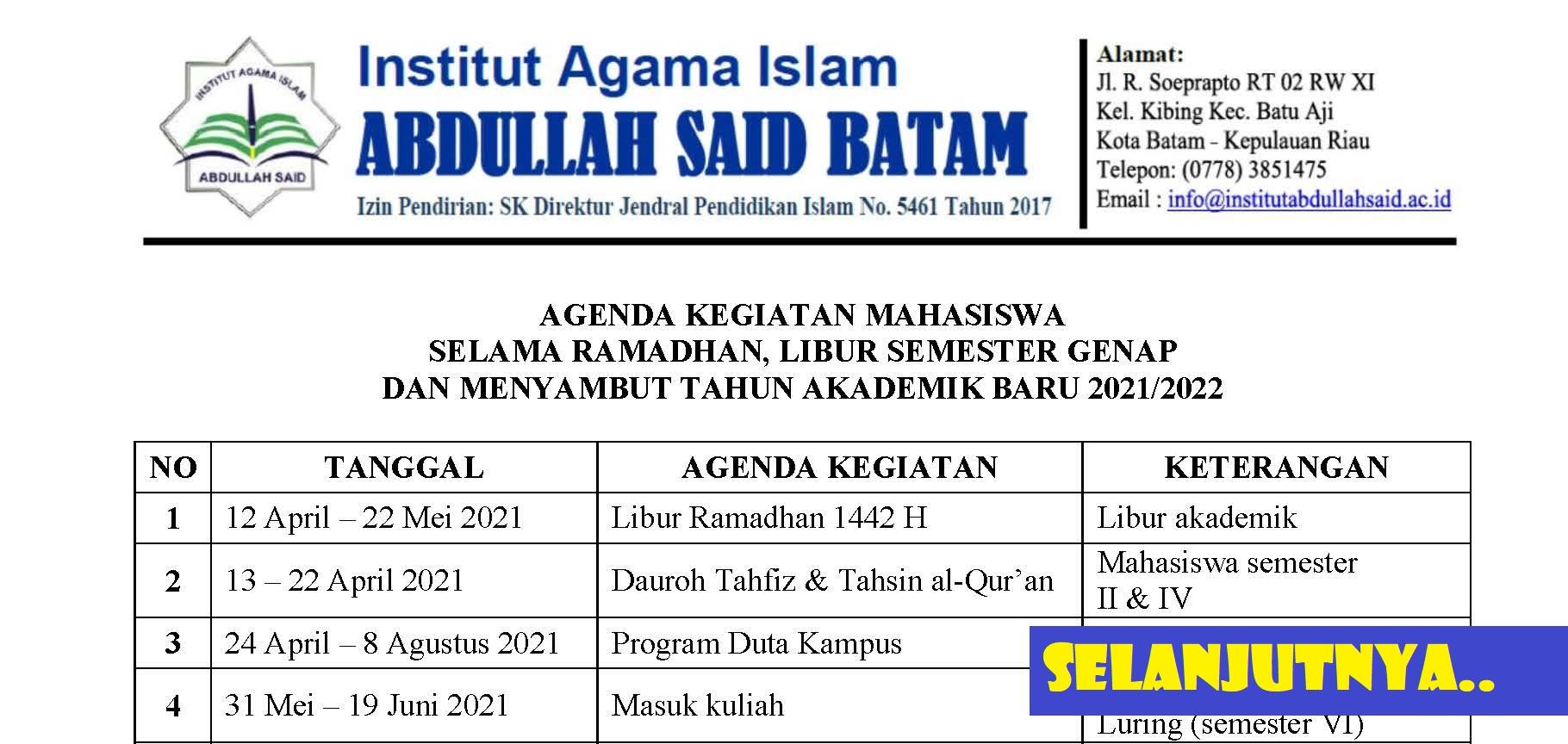 Agenda Kegiatan Mahasiswa